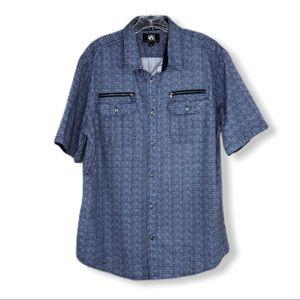 Rock & Republic Blue White Button Down Shirt Sz L